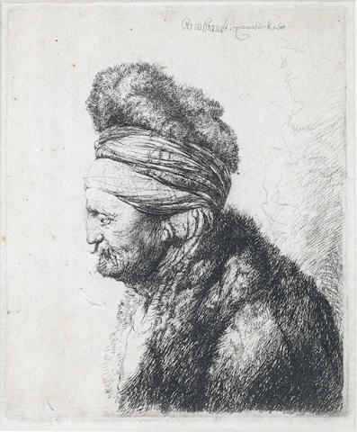 Rembrandt Harmensz van Rijn (Dutch, 1606-1669) The Second Oriental head Etching, 1635, only state, on laid, with small margins, 151 x 125mm (6 x 4 7/8in)(PL)