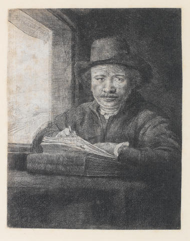 Rembrandt Harmensz van Rijn (Dutch, 1606-1669) Self Portrait Drawing at a Window Etching, 1648, Nowell-Usticke's fourth state of eight, with vertical shading between the hat brim and right cheek and a fine central crease along the spine of the book, on laid, trimmed just inside margins, 158 x 125mm (6 1/8 x 4 7/8in)(SH)
