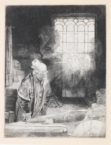 Rembrandt Harmensz van Rijn (Dutch, 1606-1669) Faust  Etching, c1652, the second state of three, with burr on the cap, sleeve and fold of the cloak, on wove, with thread margins, 210 x 160mm (8 1/4 x 6 1/4in)(PL)