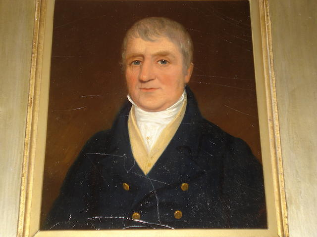 19th Century School Portrait of a gentleman wearing a blue jacket