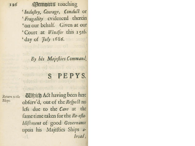 PEPYS (SAMUEL) Memoires Relating to the State of the Royal Navy of England, For Ten Years, Determin'd December 1688, 1990