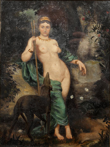 19th Century English School Diana the Huntress, with hound and deer