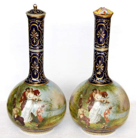 A pair of Vienna porcelain bottle vases,