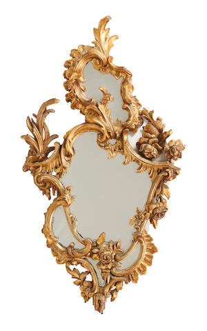 A 19th century, Rococo style, gilt gesso and giltwood wall mirror