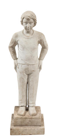 A 20th Century marble figure of a boy