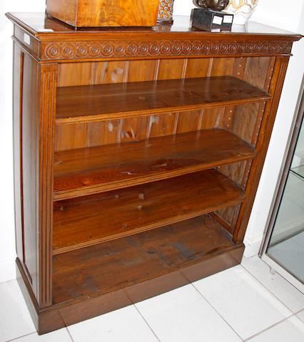 An oak dwarf open bookcase,