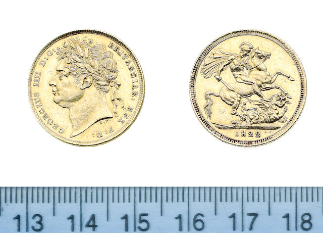 George IV, Sovereign, 1822, laureate head left,