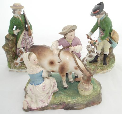 A Hochst damn pottery group 19th century