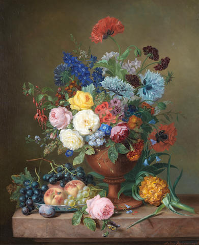 Adriana van Ravenswaay (Dutch, 1816-1872) A vase of mixed flowers and fruit on a marble ledge