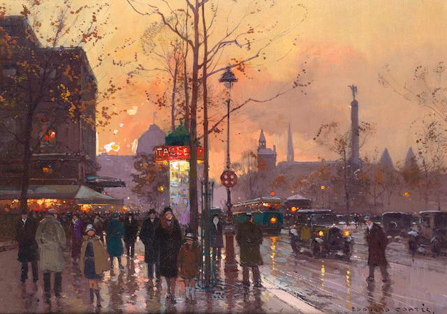 Edouard Henri Leon Cortès (French, 1882-1969) Place de la Bastille, Paris