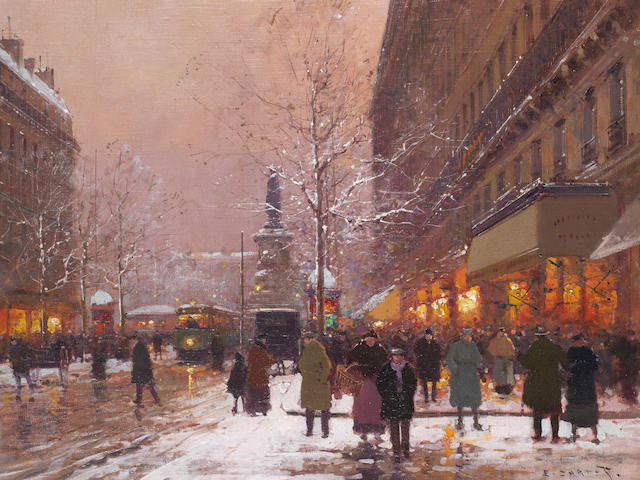 Edouard Henri Leon Cortès (French, 1882-1969) Les grands boulevards vers la place de la Republique, Paris