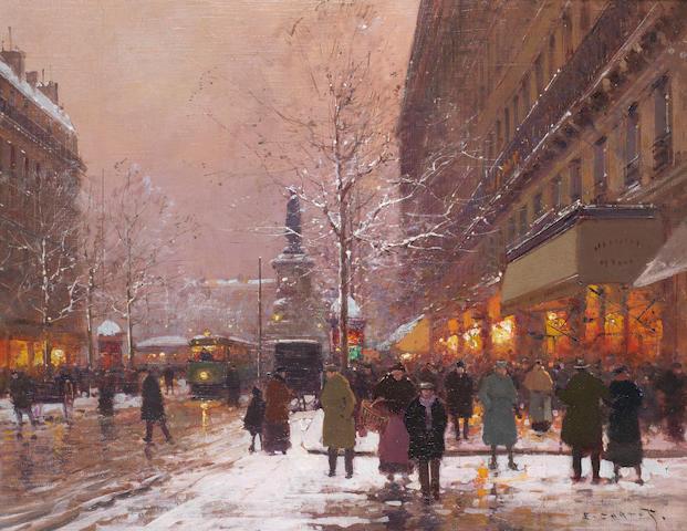 Edouard Henri Leon Cortès (French, 1882-1969) Les grands boulevards vers la place de la Republique, Paris