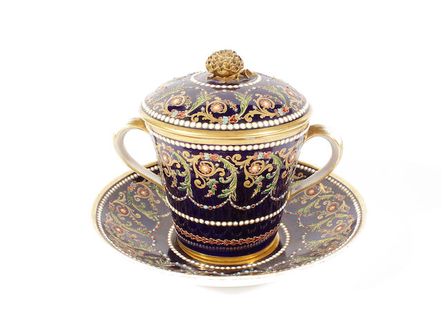 A Sèvres-style chocolate cup, cover and stand, late 19th century