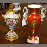 A late 19th century French porcelain twin handled vase and another porcelain lamp base