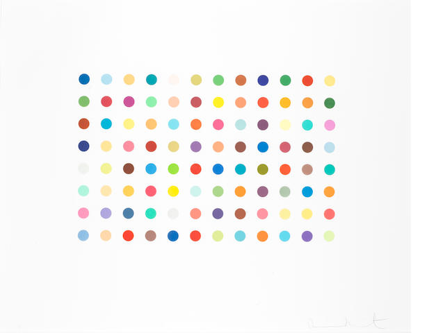 Damien Hirst (British, born 1965) Bromphenenol Blue Etching printed in colors, 2005, on Hahnemuhle paper, signed and numbered from the edition of 65 verso, published by Charles Booth Clibborn under his imprint the Paragon Press, London, with full margins, 764 x 933mm (30 x 36 3/4in)(SH)