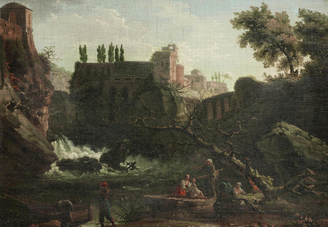 Carlo Bonavia (active Naples 1751-1788) Figures seated before an Italianate landscape,