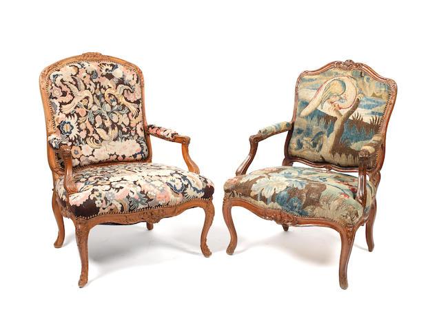 A Louis XVI walnut fauteuil