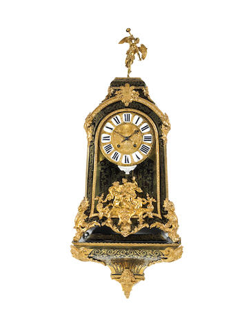 A large and impressive first half of the 18th century boulle-inlaid quarter repeating bracket clock on original wall bracket Etienne Le Noir, Paris