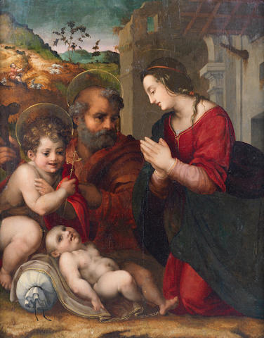 Workshop of Fra Bartolommeo (Savignano 1472-1517 Florence) The Holy Family with the infant Saint John the Baptist