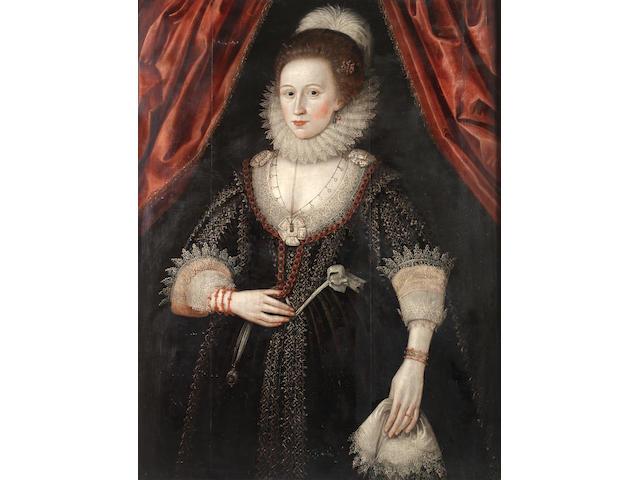 Circle of William Larkin (London circa 1580-1619) Portrait of a lady, three-quarter length,