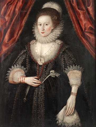 Circle of William Larkin (London circa 1580-1619) Portrait of a lady, three-quarter-length,