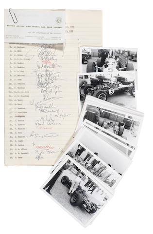 A set of seven typed signing-on sheets for the BRSCC International Race Meeting at Brands Hatch, 29 August 1966,