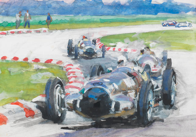 Walter Gotschke, (1912-2000), 'Caracciola in the Mercedes Benz - Monza 1938',