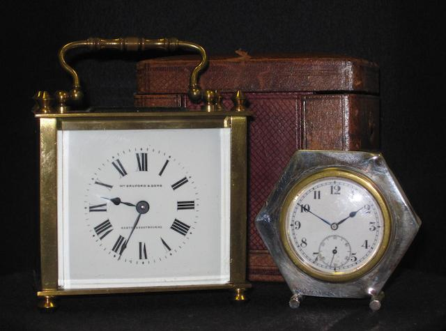 A French five-glass gilt brass carriage timepice retailed by William Bruford & Sons, Exeter & Eastbourne 2