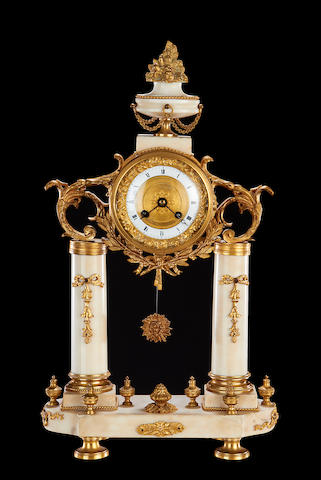 A 19th century French white marble and gilt metal mounted portico clock