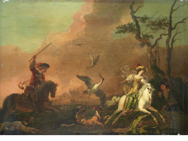 Abraham Danielsz. Hondius (Rotterdam circa 1631-1691 London) An elegant hawking party hunting heron; and An elegant hawking party at rest  (2).