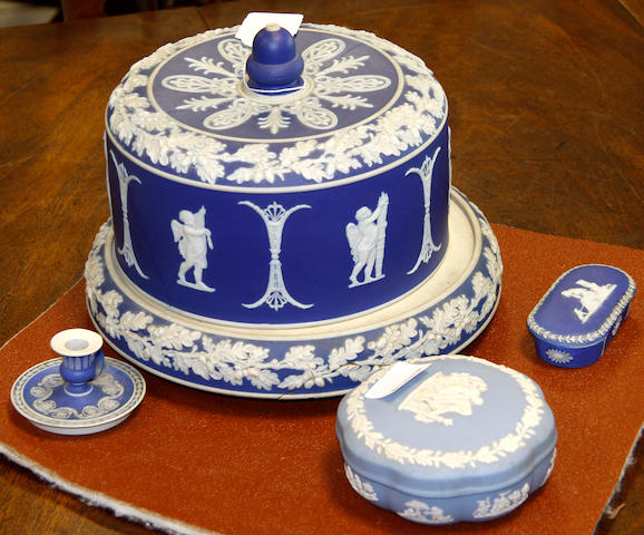 A Jasperware blue cheese dish and cover late 19th Century,