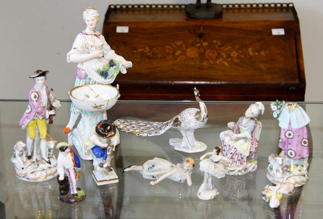 Assorted British and Continental porcelain figurenes 19th/20th Century