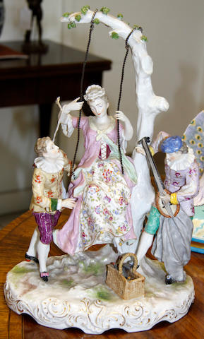 A Meissen style porcelain figural group late 19th Century