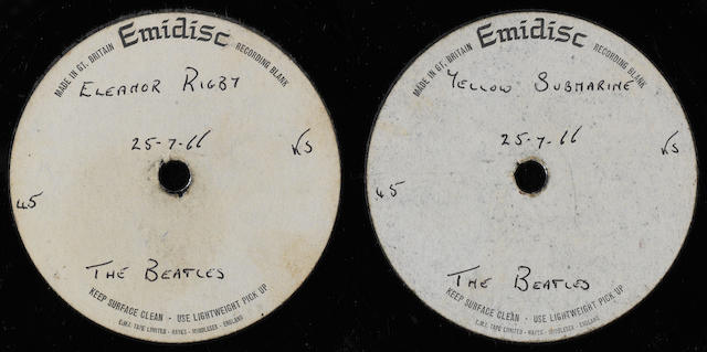 An acetate recording of 'Eleanor Rigby'/'Yellow Submarine', 1966,