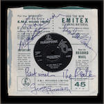 A rare autographed copy of 'Day Tripper'/'We Can Work It Out', with a related taped interview with the Beatles, 1965,