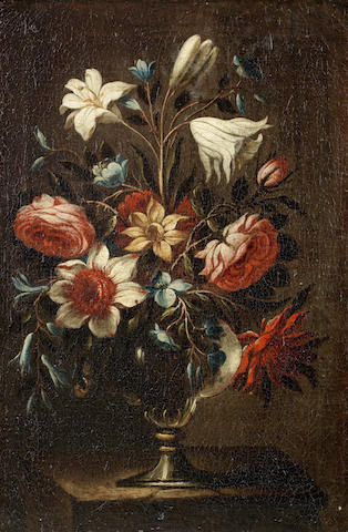 Circle of Antonio Ponce (Valladolid 1608-1677 Madrid) Tulips, peonies, carnations and other flowers in a glass vase on a table; and   (2).