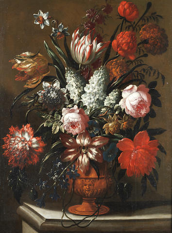 Gaspar Pieter Verbruggen I (Antwerp 1635-1687) Roses, tulips, lilies and other flowers in a terracotta vase on a stone ledge