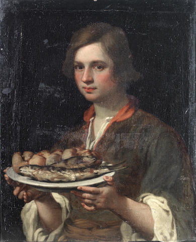 Circle of Matteo Rosselli (Florence 1578-1650) A young boy holding a tray of fish unframed