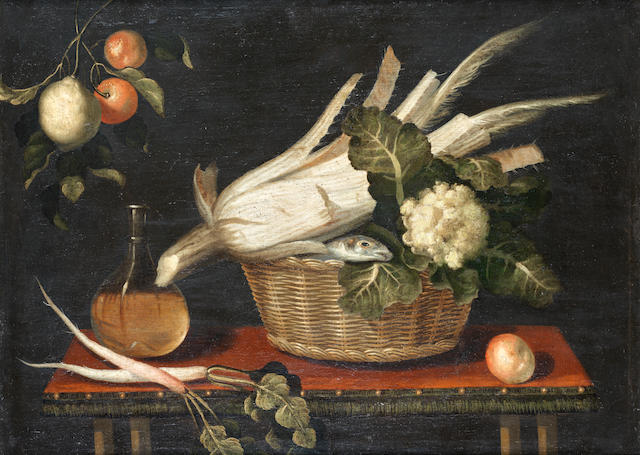 School of  Madrid, circa 1700 Apples, grapes, carrots and other vegetables in a wicker basket, with a  majolica jug and a glass bottle on a table top; and A fish, a cauliflower and other vegetables in a wicker basket,  (2).