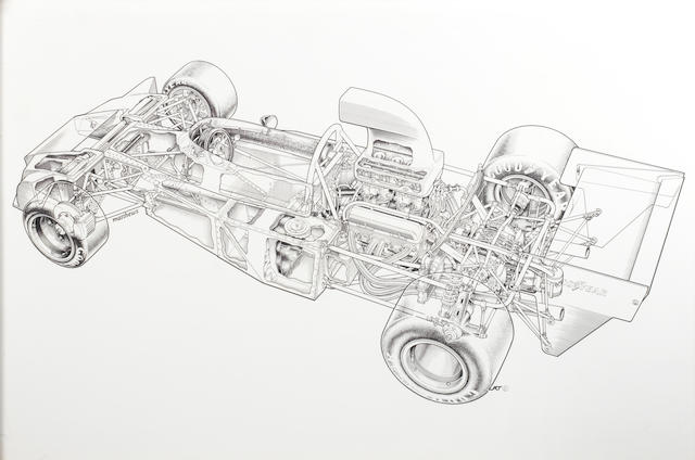 Tony Matthews, 'F5000 1974 Trojan T102' cut-away illustration,