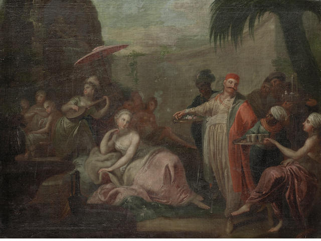 Georg Engelhardt Schröder (Stockholm 1684-1750) A courting scene; and A wedding 66 x 99cm (26 x 39in) and 66.5 x 95.8cm (26 3/16 x 37 11/16in). (2).