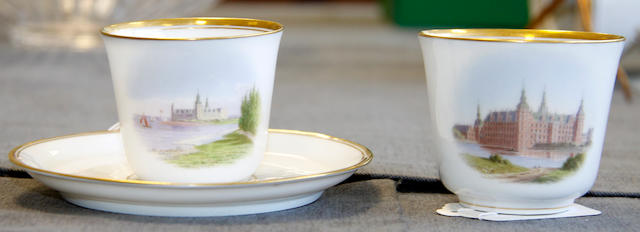 A Copenhagen cup and saucer and an odd cup