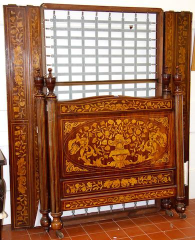 A Dutch marquetry inlaid mahogany bedhead,