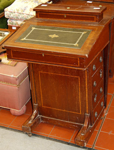 An Edwardian walnut davenport desk,