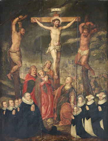 Workshop of Marten de Vos (Antwerp 1532-1603) The Crucifixion with donors