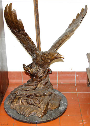 A large bronze eagle late 20th Century