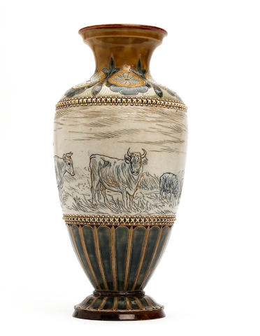 Hannah Barlow A Hannah Barlow for Doulton Lambeth vase, dated 1885