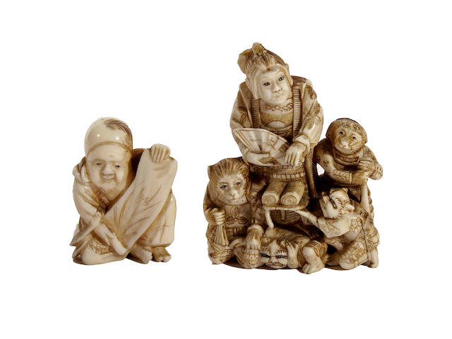 Two Japanese carved ivory netsukes, Meiji period