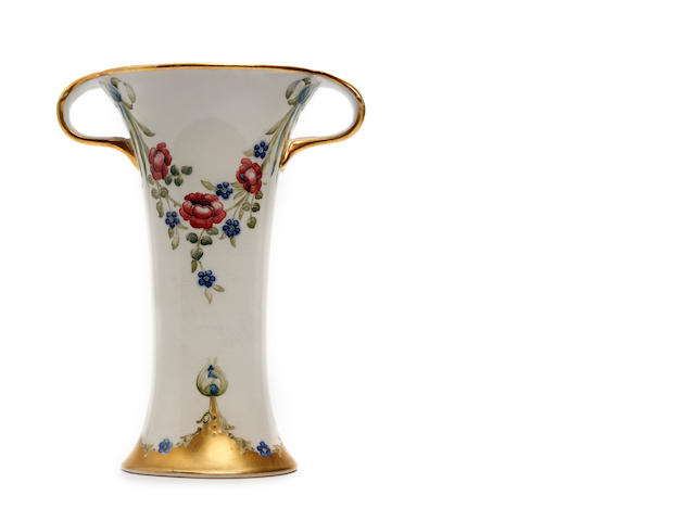 A William Moorcroft 'Eighteenth Century' pattern twin-handled vase Circa 1905