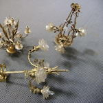 Three gilt metal chandeliers of different designs, basket, ears of corn and rose stem motifs (3)